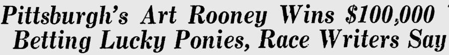 Art Rooney Gambling Headline
