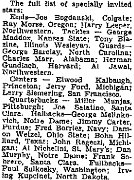 The 1935 College All-Stars roster.
