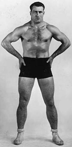 Bronko in wrestling trunks