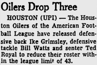 Oilers drop Billy Watts
