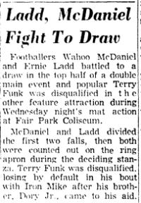 Wahoo Ladd double KO in '66