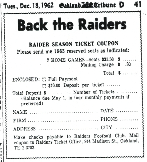 1963 Raiders tickets ad