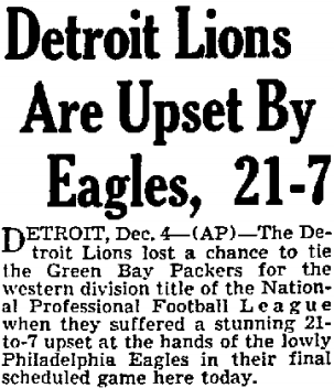 AP head and lead on Lions upset