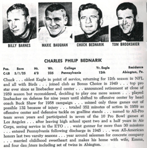 From the Eagles media guide in 1960, the season Bednarik and Gifford intersected.