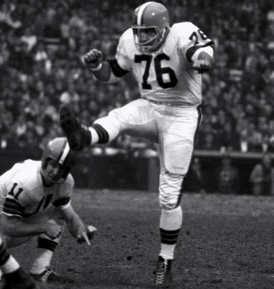 Hall of Famer Lou Groza, remembered mostly for his kicking, once caught a TD pass from Otto Graham.