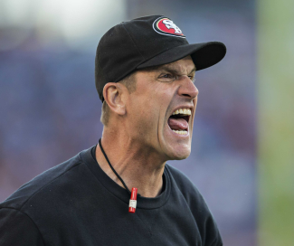 Jim Harbaugh in full throat.