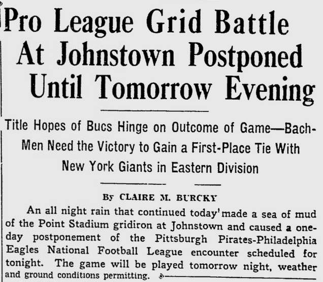 Johnstown flood game 11-4-36 Pittsburgh Press