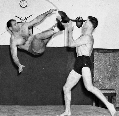 Savoldi practices the Flying Dropkick.