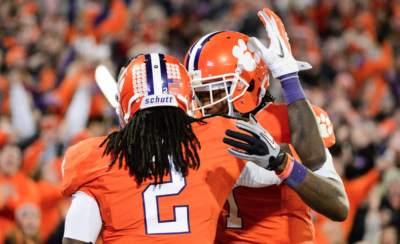 Sammy Watkins (2) and Martavis Bryant (1) celebrate a touchdown at Clemson.