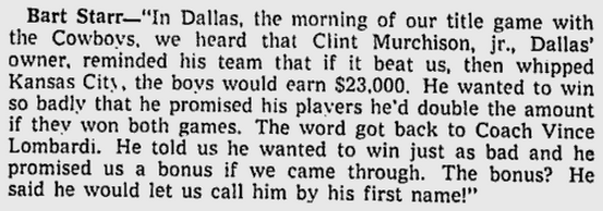 Bart Starr readout 3-9-67 Milwaukee Sentinel