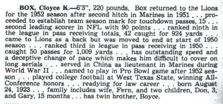 From the Lions' 1953 media guide.