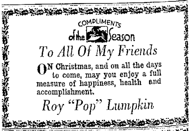 Father Lumpkin Christmas Greeting 12-24-31 Portsmouth Times