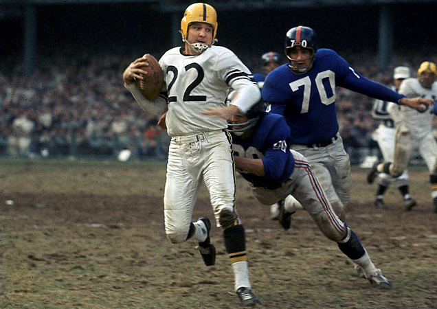 Steelers quarterback Bobby Layne, facemaskless as always, seen here fleeing Giants linebacker Sam Huff.