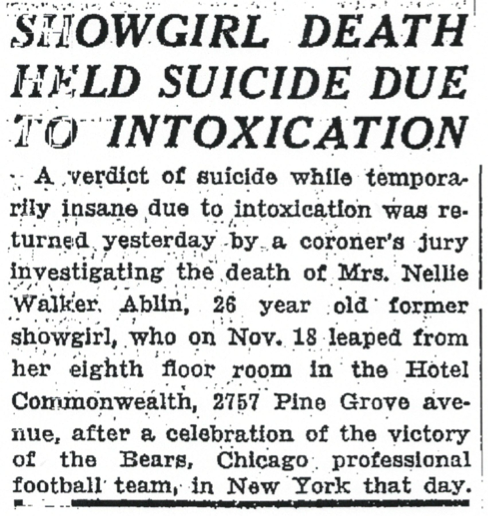 Ruled suicide 12-6-34 Chi Trib