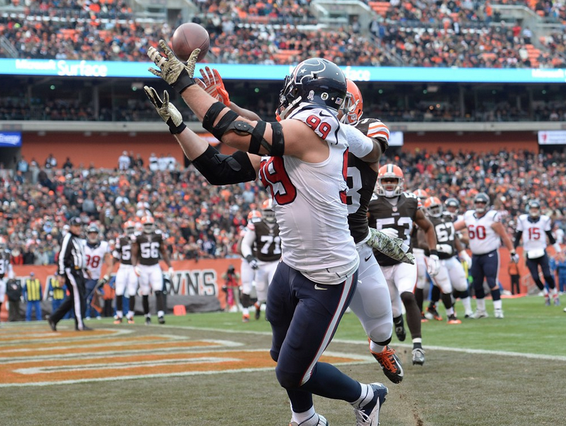 Texans defensive end J.J. Watt scores his fifth TD of the season -- and third receiving -- Sunday vs. the Browns.