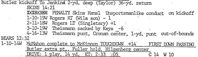 Theismann's 1-yard punt