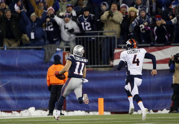 The Patriots' Julian Edelman taking a punt the distance vs. the Broncos this season.