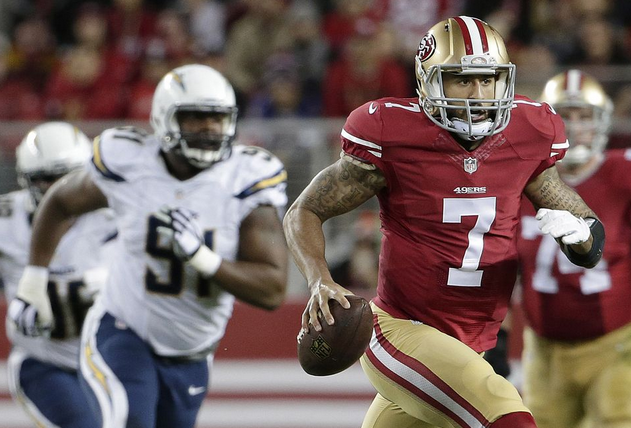 Colin Kaepernick leaves the Chargers behind en route to a 151-yard rushing night Saturday.