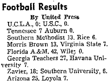 Dec. 9, 1939 college scoreboard
