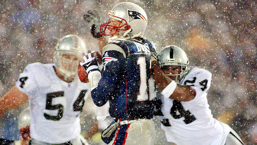There's a chance of snow Sunday in New England, just like there was in the Tuck Rule Game in the 2001 playoffs.