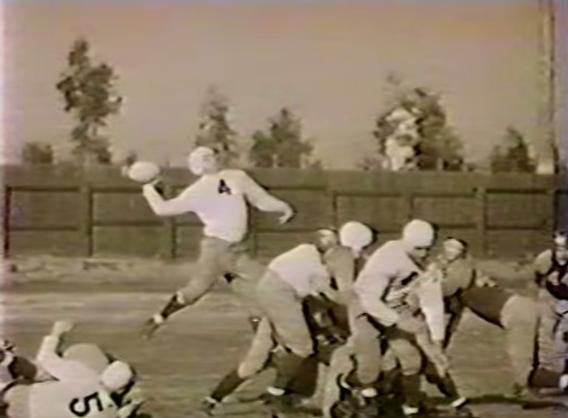 Arnie Herber lets fly with a jump pass for the '36 Packers.
