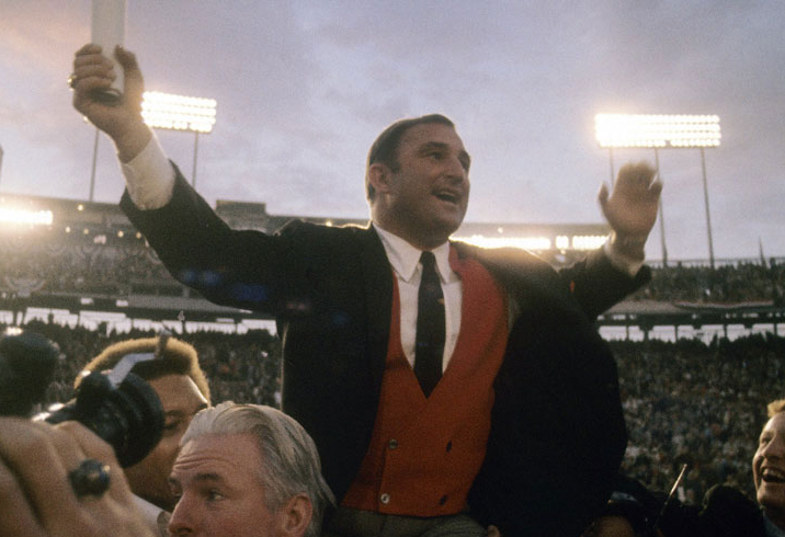 A triumphant Hank Stram after the Chiefs took down the Vikings in Super Bowl III.