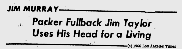 Jim Taylor uses his head headline