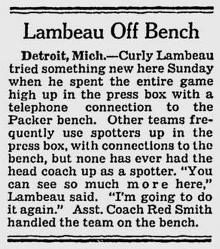 Lambeau Press Box coaching 10-25-43 Milw Journal