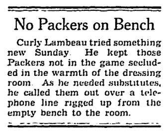 No Packers on Bench 12-7-42 Milw Journal
