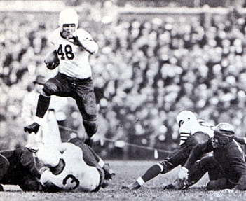 "Beattie Feathers, behind the block of Bronko Nagurski (3), rushing for some of his ""slightly more than 1,000 yards"" in 1934."