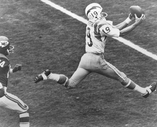 Lance Alworth was the first wideout with 1,200 receiving yards and 12 TD catches three straight seasons.
