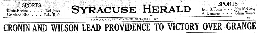 Syracuse Herald headline 12-4-27 Grange game