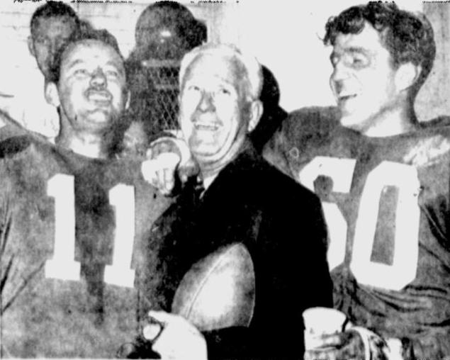 QB Norm Van Brocklin (11), Coach Buck Shaw and Bednarik (60) after winning the '60 title.