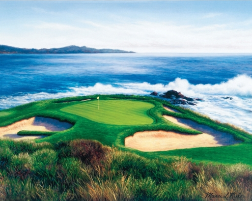 The 110-yard seventh hole at Pebble Beach.