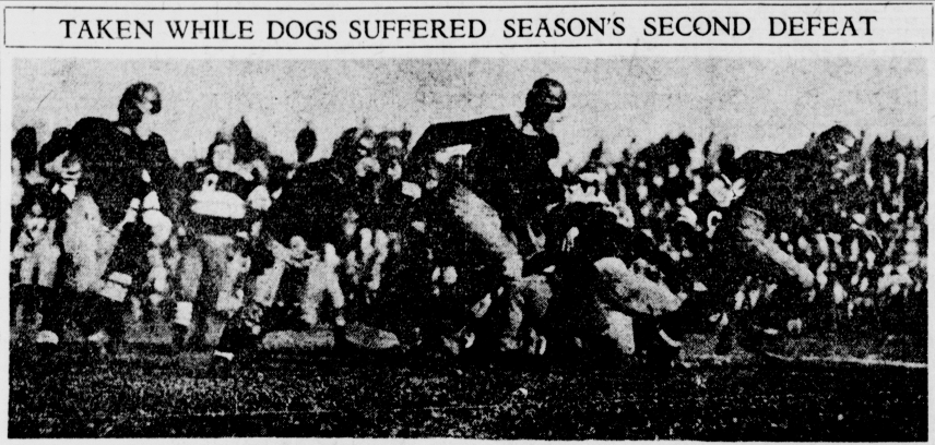 The Buccaneers (fuzzily) in action against the Canton Bulldogs.