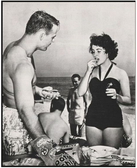 Lovebirds Glenn Davis and Liz Taylor at the beach.