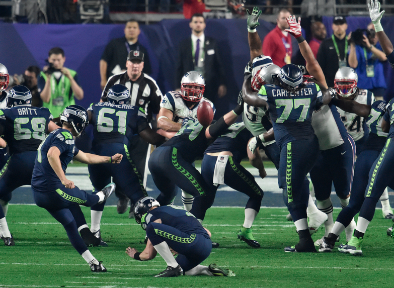 Fortunately for the Seahawks' Steven Hauschka, this 27-yard field goal try in Super Bowl 49 wasn't affected much by the earth's rotation.