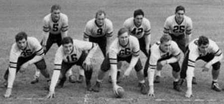 The '40 Bears line from L to R: Artoe, Musso, Turner, Fortmann and Stydahar.