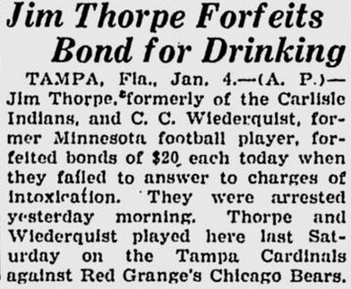 Jim Thorpe intoxication 1-5-26